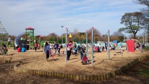 Saughton Play Area in sun with kids 78